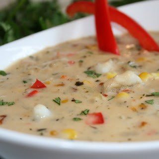 ROASTED RED PEPPER AND FISH CHOWDER.