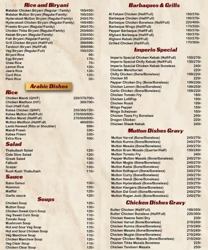 Food Menu 7 of Imperio Restaurant, Kalyan Nagar, Bangalore