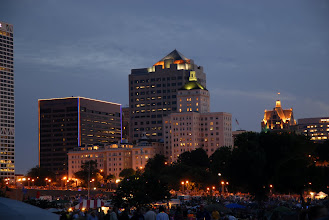 Photo: Mostly Northwestern Mutual at dusk from Veteran's Park
