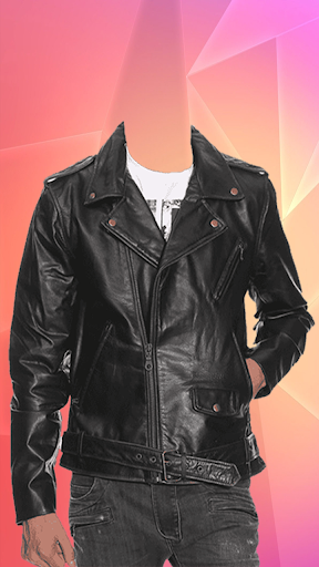 Man Leather Jacket Photo Suit screenshot 2