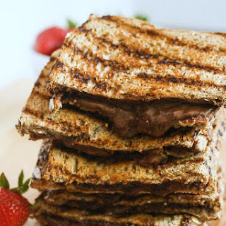Grilled Chocolate Almond Butter and Strawberry Chia Jelly Sandwich