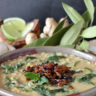 Lentil Rice Soup with Caramelized Onions