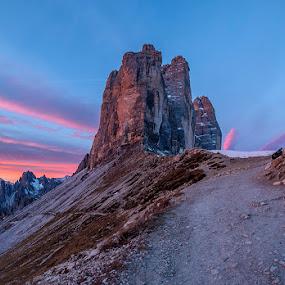 Morning At Dolomites by Jaro Miščevič - Landscapes Mountains & Hills ( wind, skyline, mountains, sky, cold, autumn, sun rise, sun light, morning, colours )