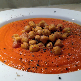 Cream of Tomato Soup with Roasted Italian Chickpea Croutons.
