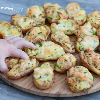 Cheese and Chive Stuffed Baby Potato Skins.