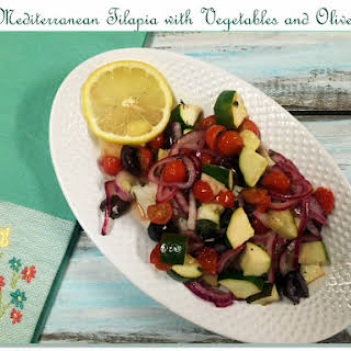 Mediterranean Tilapia with Vegetables and Olives.