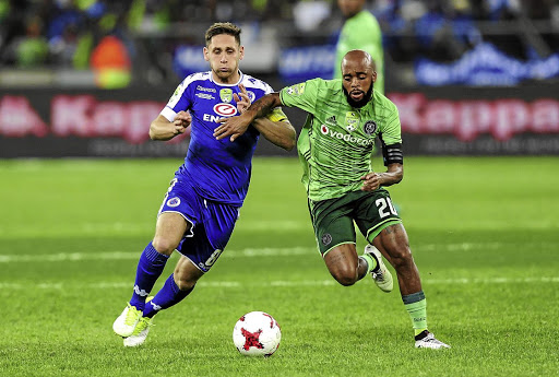 LONG JOURNEY  BACK TO PSL CONTENTION: Supersport United's  Dean Furman and exiting  Orlando Pirates' Oupa Manyisa  fight for  possession of the ball  during the Nedbank Cup final in  June.