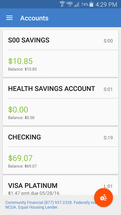 Community Financial Mobile- screenshot