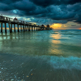 The End of the World by Jessica Meckmann - Landscapes Waterscapes ( clouds, water, hdr, florida, sunset, pier, ocean, beach, storm )