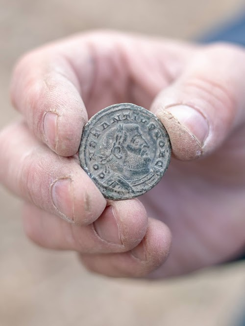 A coin from the Saxon hoard discovered by Peter Welch and the Weekend Wanderers