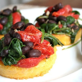 Polenta with Black Beans and Spinach.