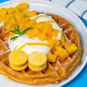 Mango Shortbread Macaron Waffle