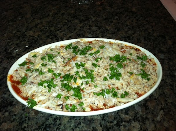 Combine the first 5 ingredients. Spread mixture in a deep 10-inch glass plate (I...