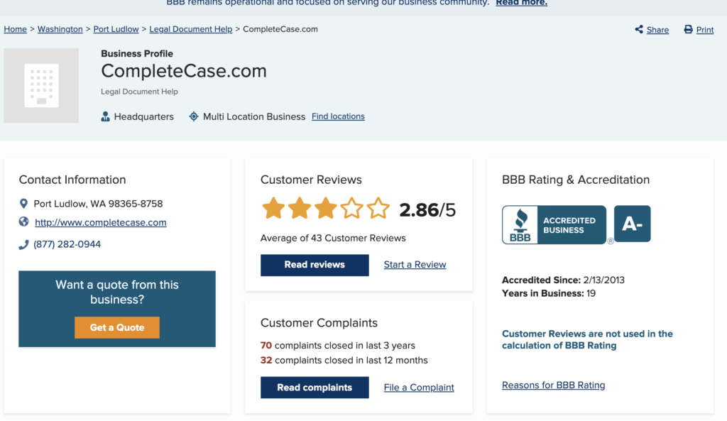 complete case reviews bbb