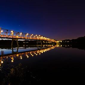 Breaking Dawn by Jashper Delloroso - Landscapes Starscapes ( lights, bluehour, dawn, night, bridge, light, river,  )