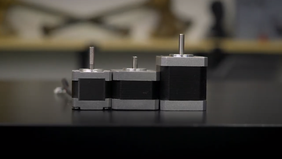 Stepper motors in many sizes with increasingly more torque from left to right.