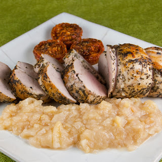 Sage and Rosemary-crusted Roast Pork Tenderloin with Pear Ginger Compote