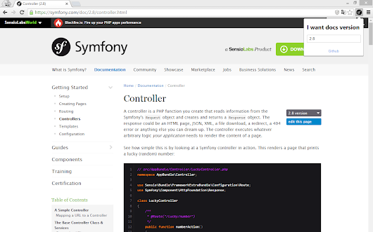 Symfony docs version changer