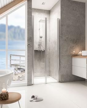 Portes de douche battantes en niche 80, 90 ou 100 cm