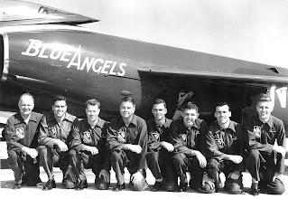 Photo: (L to R) LCDR Bill Oleson, Maint. Officer; LT John Damian; Capt. Stoney Mayock, USMC: CDR Ed Holley, Leader; LT Herb Hunter; LT Bob Rasmussen; LT Jack Dewenter; LT Mark Perrault