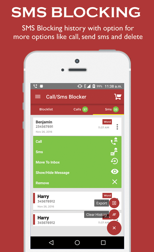 Yo Call and SMS Blocker- screenshot