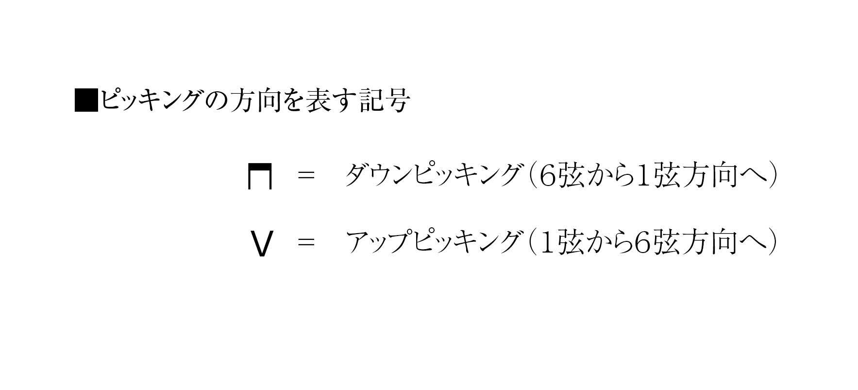 ピッキングの向きを表す記号