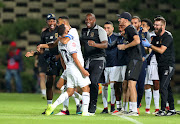 Cape Town City Riyaad Norodien celebrates with teammates after scoring the winning goal in the come from behind 3-2 Absa Premiership victory over Bidvest Wits at Bidvest Stadium on Saturday March 2 2019.