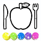 Glitter Apple cutlery set coloring for Kids