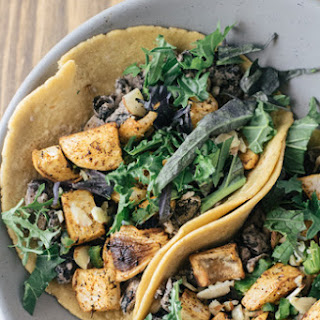 Lemon Dill Roasted Turnip Tacos + Orca Beans, Jalapeno, Almond