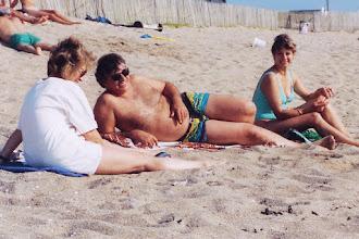 Photo: Jeannene, Yves, and Thérèse at beach near Nantes, France; 1994  KMH