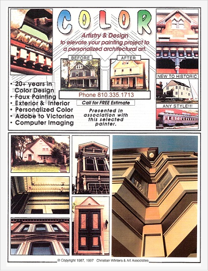 """Photo: Creativity - Color design and restoration painting flyer shows diverse interior and exterior works.  From riverside and beach front homes to commercial city buildings and historic structures (Victorian era buildings, rail cars, etc.).  Historic Benedum-Trees Foundation multicolor lobby ceiling (center left) - Astorino Architects HQ at lower right.  Among their works is the tallest building on Mt. Washington and maintenance of Frank Lloyd Wright's """"Falling Water"""""""
