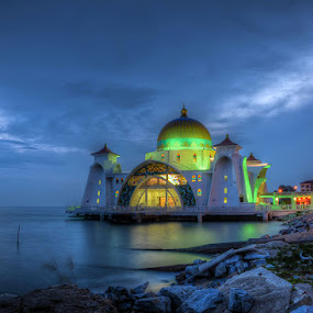 Malacca Straits Mosque, Malaysia by Fitria Ramli - Buildings & Architecture Places of Worship ( straits, mosque, sunset, buildings, sea, blue hours, beach, architecture, landscapes, malacca. malaysia, nightscapes, , Architecture, Building, Buildings, Exterior, Exteriors, Interior, Interiors, Space, Spaces, HDR, Landmark, Landmarks, Engineering, Tilt Shift, Tiltshift, World_is_Blue, hdr, landmark, travel, night, lights, garyfonglandscapes, holiday photo contest, photocontest, #Gautam buddha  )