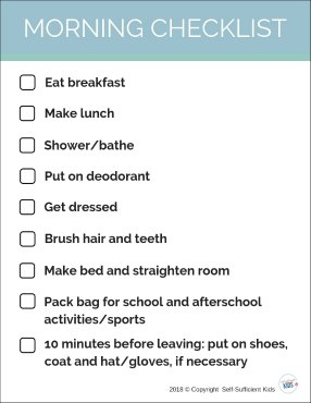 Morning routine for school checklist