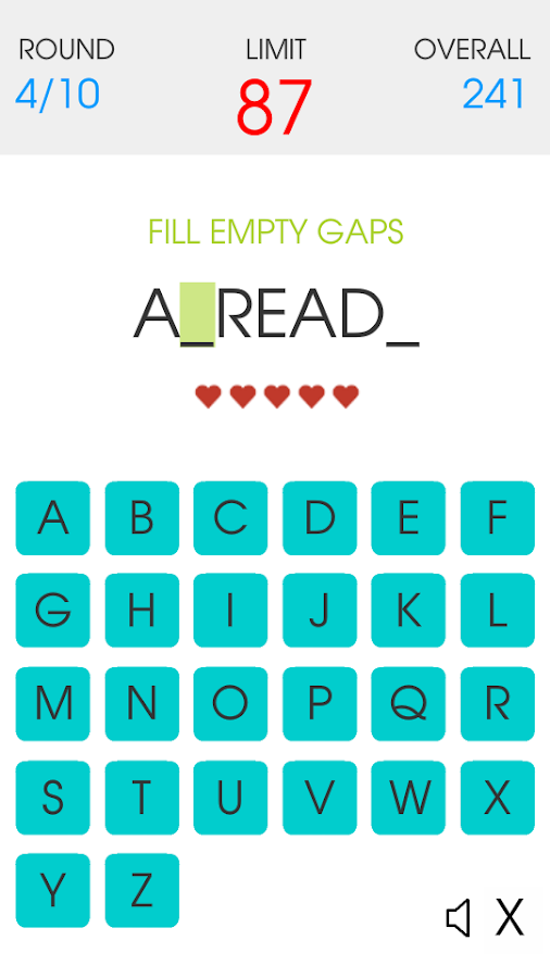 Spelling Gaps- screenshot