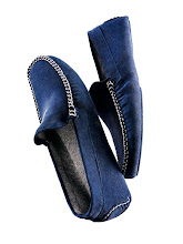 Photo: FEDELI Exclusively ours. Blue suede slipper with cashmere lining. In sizes 40-46. $485. Also available in grey and brown. Italy. First Floor, The Men's Store. 212 339 3290