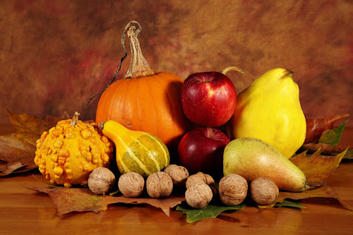 Still life with fruits and pumpkins by Nicu Buculei - Food & Drink Fruits & Vegetables ( fruit, pumpkin, apple, still life, fruits, pumpkins, nuts, squash, pear,  )
