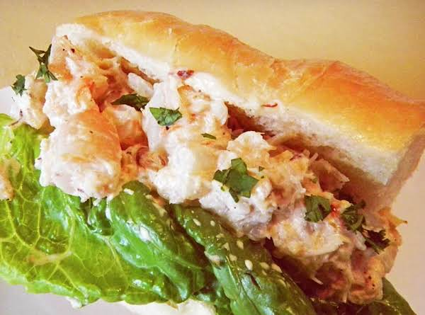 King Crab, Tiger Shrimp And Cocktail Shrimp Hoagie Can Be Served On A Sliced Roll Or In A Hollowed-out Hoagie Roll - The Second Has Less Drips!