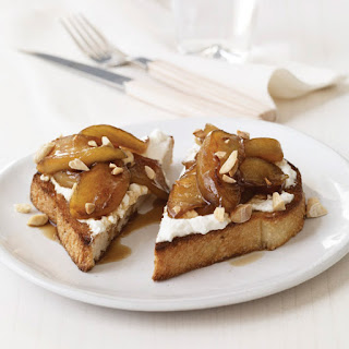 Toasts with Ricotta and Warm Balsamic-Caramel Apples.