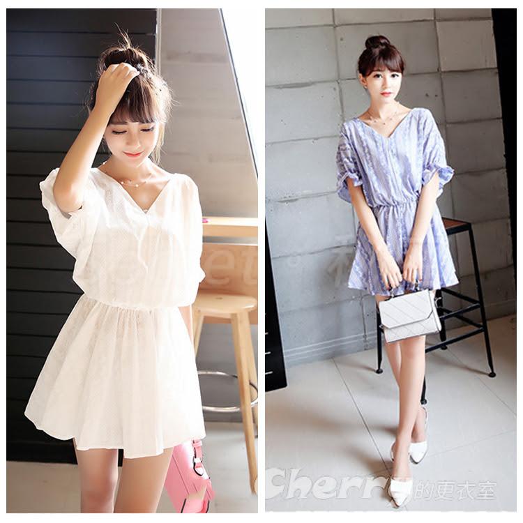 韓版小清新V領繡花娃娃衫蝙蝠袖五分袖寬鬆連衣裙連身裙
