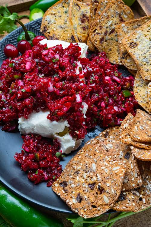 """Cranberry Salsa""""A fresh cranberry salsa with jalapenos and lime; perfect for holiday..."""