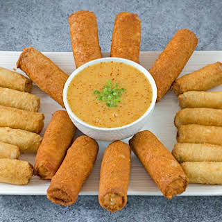 Spring Rolls with Spicy Asian Citrus Dipping Sauce.
