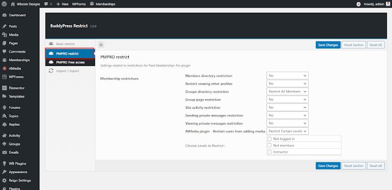 BuddyPress Restrict Options Plugin