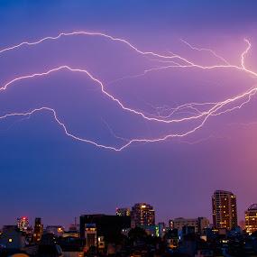 lightning by Sorin Tanase - Landscapes Starscapes ( lightning, hanoy, vietnam, night, storm )