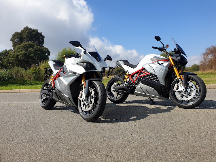 The Energica Ego (left) and Eva (right) deliver plenty of battery-powered brawn. Picture: DENIS DROPPA