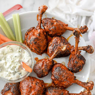 Buffalo Chicken Drumsticks with Blue Cheese Dressing.