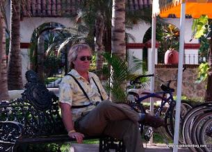 Photo: Steve taking a break from the heat