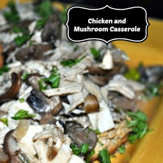 Creamy Chicken and Mushroom Casserole with Rosemary and Sour Cream.