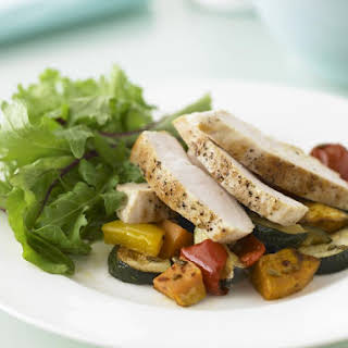 Chicken with Spicy Roasted Vegetables.