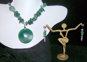 Photo: <BEREHYNYA> {Great Goddess Protectress} unique one-of-a-kind statement jewellery by Luba Bilash ART & ADORNMENT  #101 - CRYSTAL REEF ~ КРИШТАЛЕВЕ ДЖЕРЕЛО - geode pendant; amazonite; ceramic; stainless steel beads; SS $65/set SOLD
