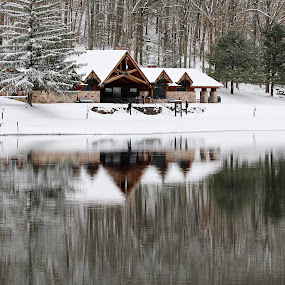 Winter Scene  by H Scott Burd - Landscapes Starscapes ( building reflections water lake trees snow peaceful )